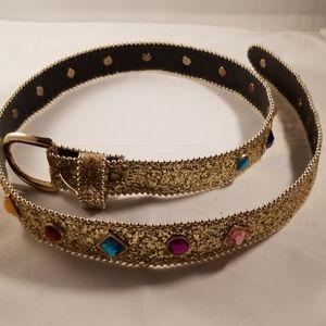 """Vintage """"Omega"""" Gold Glitter & Jeweled Belt, Large"""